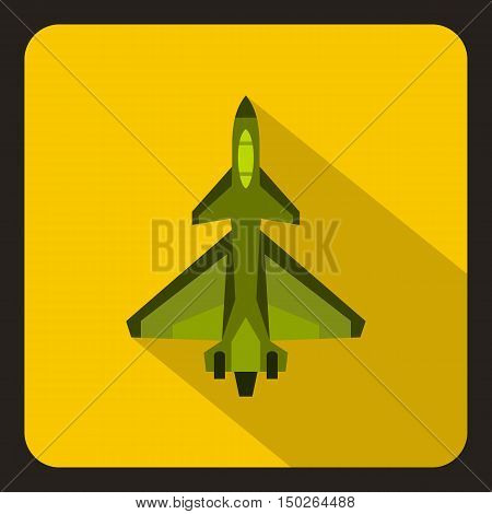 Military fighter jet icon in flat style with long shadow vector illustration