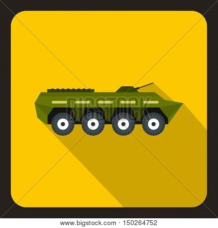 Army battle tank icon in flat style with long shadow vector illustration