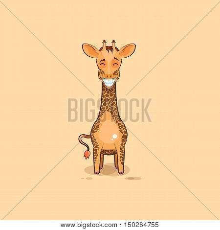 Vector Stock Illustration isolated Emoji character cartoon Giraffe with a huge smile from ear to ear