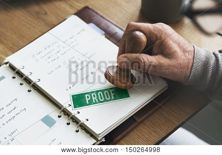 Proof Confirmation Truth Valid Authentication Concept