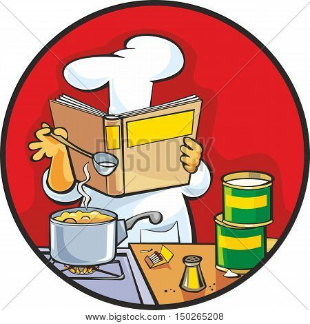 Chef preparing soup and reading recipe cookbook. Home kitchen interior. Flat vector color illustration.
