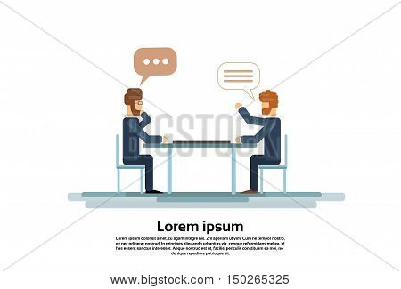Two Business Man Talking Discussing Chat Box Bubble Communication Sitting at Office Desk Vector Illustration