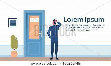 Business Man Searching for Job Interview Candidate Office Room Doors Corridor Hallway Flat Vector Illustration