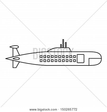 Military submarine icon in outline style isolated on white background vector illustration