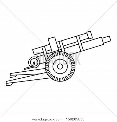 Artillery gun icon in outline style isolated on white background vector illustration