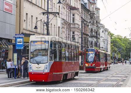 Red Tram On The Street Of Katowice City, Poland