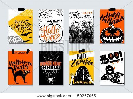 Collection of happy halloween and party typography flyer poster card banner templates - with lettering, zombie, ghost say boo, tree, cat, bat, pumpkin, tomb, spider. Vector retro halloween celebration