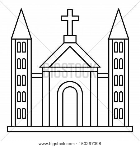 Catholic church building icon in outline style on a white background vector illustration