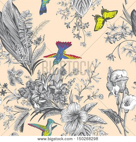 Vector seamless vintage floral pattern. Exotic flowers and birds. Botanical classic illustration. Colorful