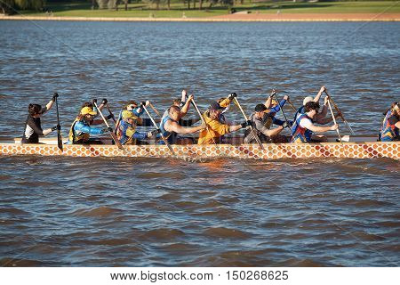 Canberra, Australia-March 31, 2010. Mixed Dragon Boat Crew training session on Lake Burley Griffin, Canberra