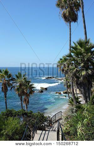Laguna Beach coastline seen from the bluff walkway in Heisler park.