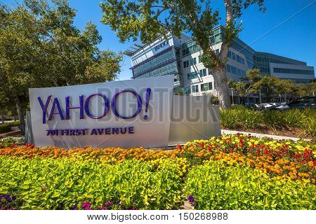 Sunnyvale, CA, United States - August 15, 2016: Yahoo icon outside Yahoo Headquarters.Yahoo Inc. is a multinational technology company that is known for its web portal and search engine Yahoo Search.