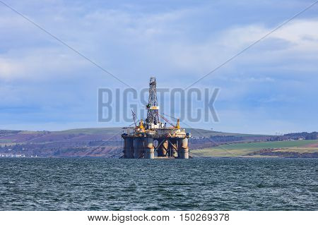 Semi Submersible Oil Rig at Cromarty Firth in Invergordon Scotland