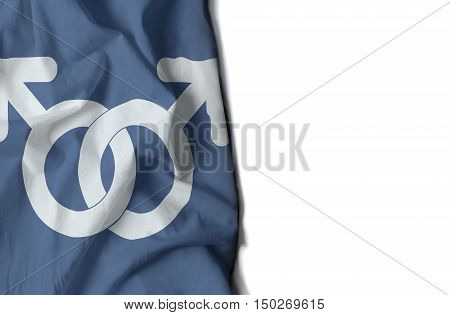 Gay Man Symbol Wrinkled Flag, Space For Text