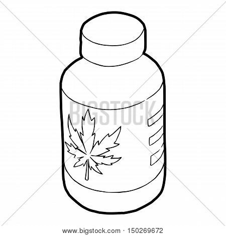 Medical marijua bottle icon in outline style on a white background vector illustration