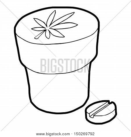 Medical marijuana bottle and tablet icon in outline style on a white background vector illustration