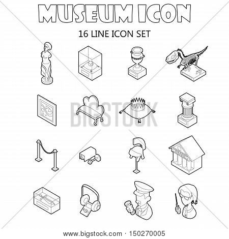 Museum icons set in outline style. Antique and culture symbols set collection vector illustration