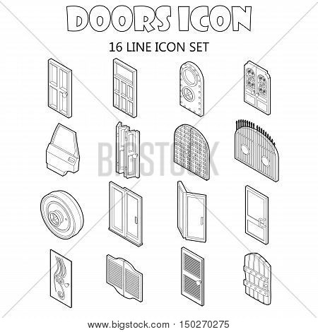 Door icons set in outline style. Doors to houses and buildings set collection vector illustration icons set in style.