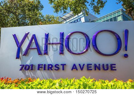 Sunnyvale, CA, United States - August 15, 2016: close up of Yahoo 701 first avenue at Yahoo Headquarters located in Sunnyvale, Silicon Valley, California. Yahoo is a multinational technology company.