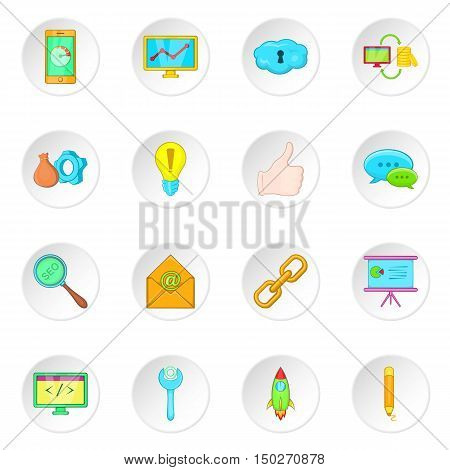 SEO optimization icons set in cartoon style. Search engine optimization set collection vector illustration