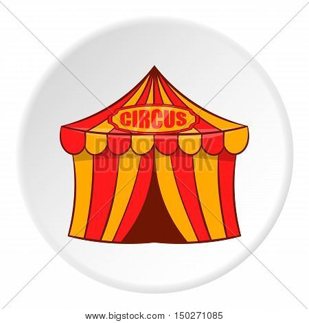 Striped circus tent icon in cartoon style isolated on white circle background. Entertainment symbol vector illustration