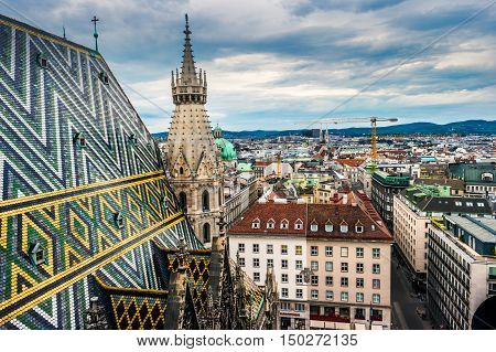 Aerial view over the rooftops of Vienna from the north tower of St. Stephen's Cathedral, Austria. Beautiful travel picture.