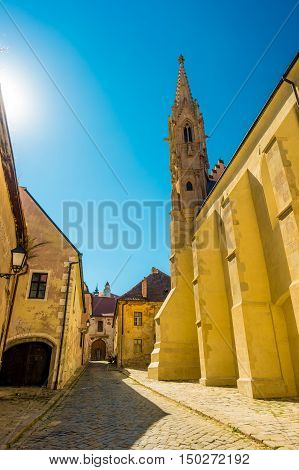 A street with traditional buildings in Bratislava, Slovakia. Travel photography. Architectural background.