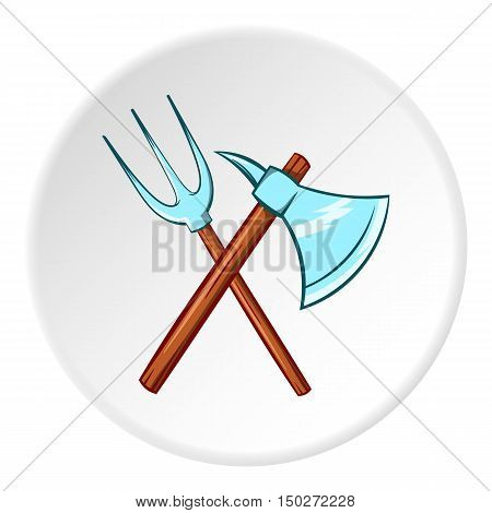Axe and pitchfork icon in cartoon style isolated on white circle background. Medieval weapon symbol vector illustration