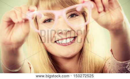 Happy Young Woman Girl With Glasses.