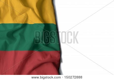 Lithuania Wrinkled Flag, Space For Text
