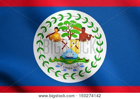 Belizean national official flag. Patriotic symbol banner element background. Accurate dimensions. Correct size colors. Flag of Belize waving in the wind with detailed fabric texture, 3d illustration