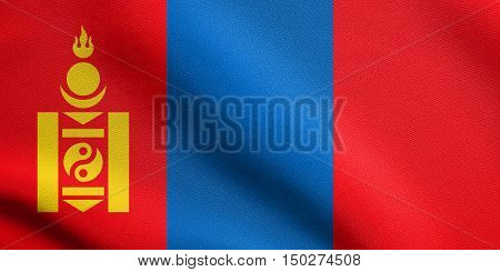 Mongolian national official flag. Patriotic symbol banner element background. Accurate dimensions. Correct size colors. Flag of Mongolia waving in the wind with detailed fabric texture, 3d illustration