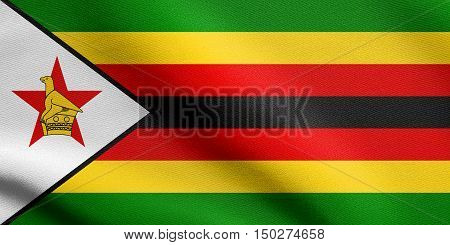 Zimbabwean national official flag. African patriotic symbol banner element background. Accurate dimensions. Correct size colors. Flag of Zimbabwe waving in the wind with detailed fabric texture. 3d illustration