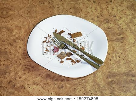 Empty plate after a meal, crackers and sausage