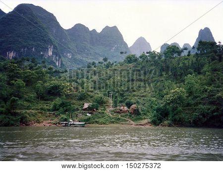 A view of the Li River, between Yangshuo and Guilin, China, circa 1987.