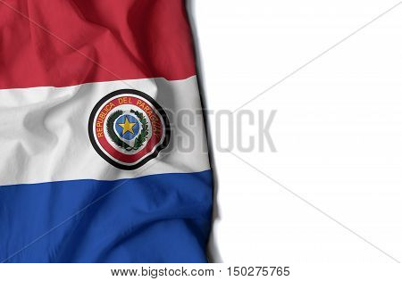Paraguay Wrinkled Flag, Space For Text