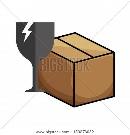 carton box product package with broken glass fragile icon. vector illustration