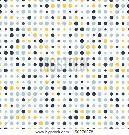 Colorful abstract spotted seamless pattern. Dot on white. Round shape dotted background. Dots texture. Polka dot background. Vector illustration.