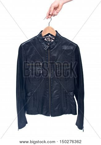Leather motorcycle jacket separated on white background