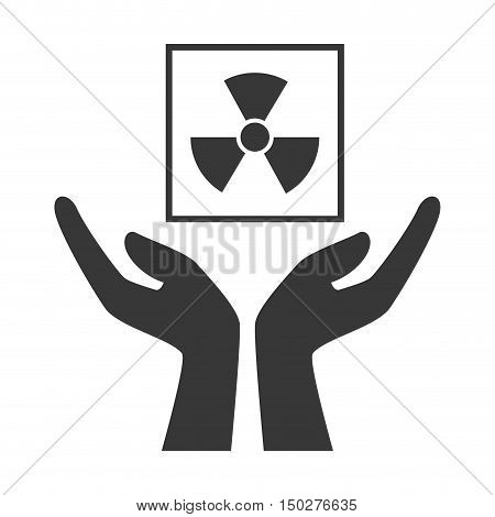 hands with radioactive package icon silhouette. vector illustration