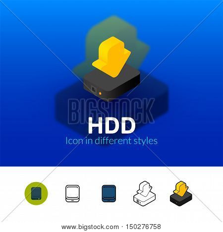 HDD color icon, vector symbol in flat, outline and isometric style isolated on blur background