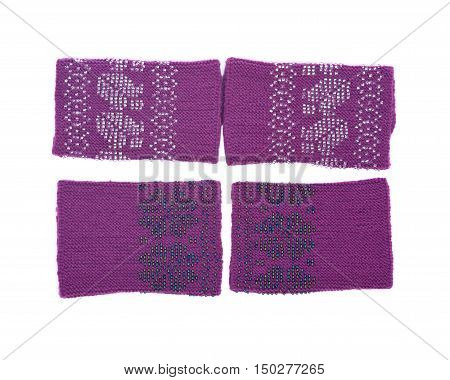 Knit wool wrists arm warmers separated on white background