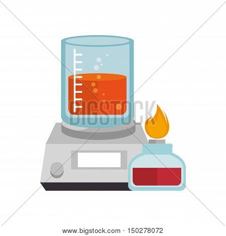 beaker chemical laboratory glass with liquid and laboratory burner. vector illustration