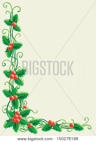 Christmas decoration with holly. Vector christmas holly background   with place for text