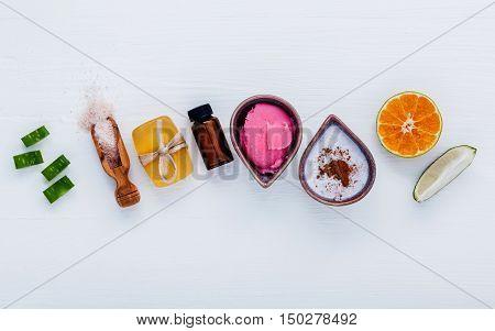 Homemade Skin Care And Body Scrubs With Natural Ingredients Aloe Vera ,lemon,cucumber ,himalayan Sal