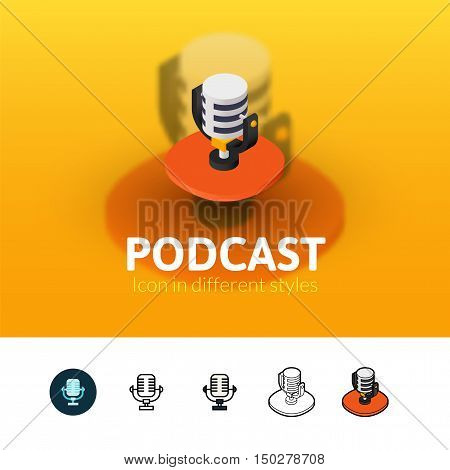 Podcast color icon, vector symbol in flat, outline and isometric style isolated on blur background