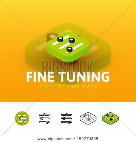 Fine tuning color icon, vector symbol in flat, outline and isometric style isolated on blur background