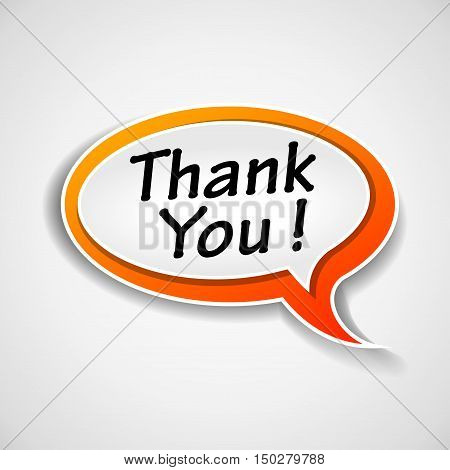 Illustration of thank you speech buble on white background