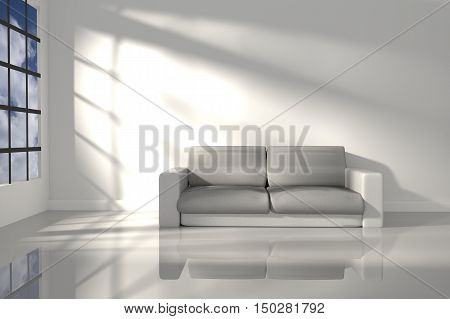 3D Rendering : illustration of interior room of minimalism white feeling with modern leather sofa furniture at the middle of room on shiny floor ,morning or sunset light,Blue sky at outdoor
