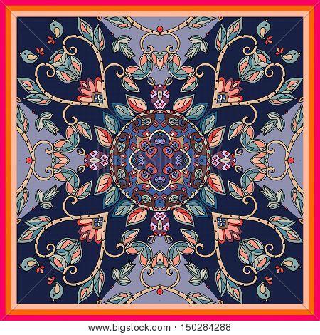 Decorative floral ornament. Beautiful bandana print or kerchief pattern design. Vector illustration.